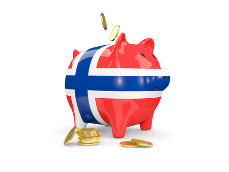 Fat piggy bank with fag of norway and money isolated on white. 3D illustration