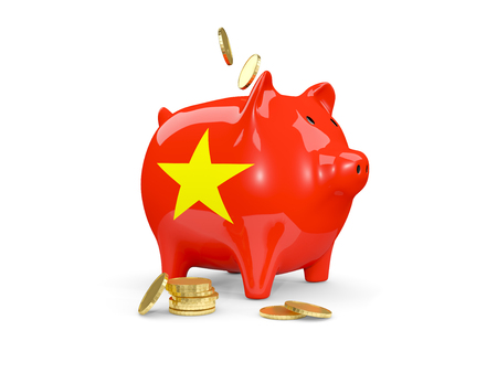 fag: Fat piggy bank with fag of vietnam and money isolated on white. 3D illustration