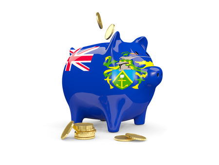 fag: Fat piggy bank with fag of pitcairn islands and money isolated on white. 3D illustration