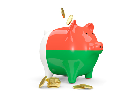 fag: Fat piggy bank with fag of madagascar and money isolated on white. 3D illustration