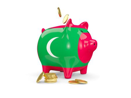 モルディブは、白で隔離のお金の fag と脂肪の貯金。3 D イラストレーション