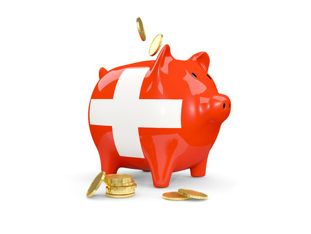 Fat piggy bank with fag of switzerland and money isolated on white. 3D illustration