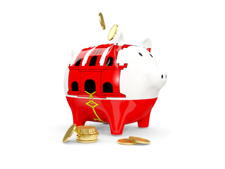 Fat piggy bank with fag of gibraltar and money isolated on white. 3D illustration