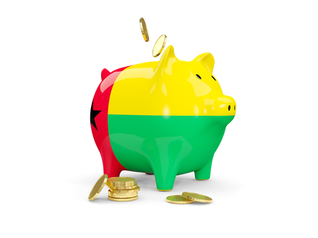 Fat piggy bank with fag of guinea bissau and money isolated on white. 3D illustration