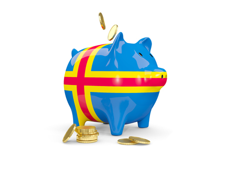 fag: Fat piggy bank with fag of aland islands and money isolated on white. 3D illustration