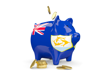 fag: Fat piggy bank with fag of anguilla and money isolated on white. 3D illustration