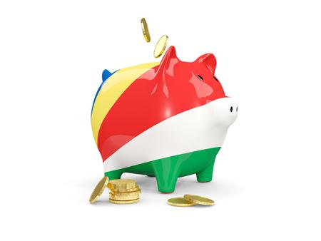 Vet spaarvarken met fag van Seychellen en geld geïsoleerd op wit. 3D illustratie