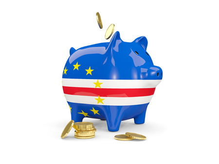 Fat piggy bank with fag of cape verde and money isolated on white. 3D illustration