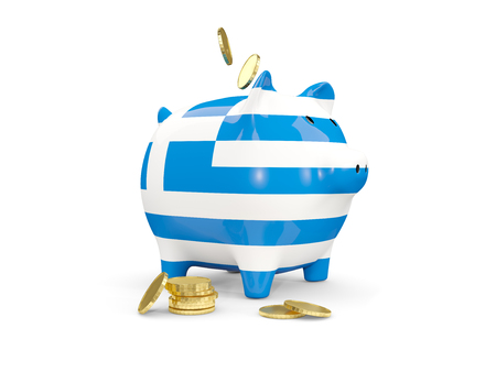 fag: Fat piggy bank with fag of greece and money isolated on white. 3D illustration