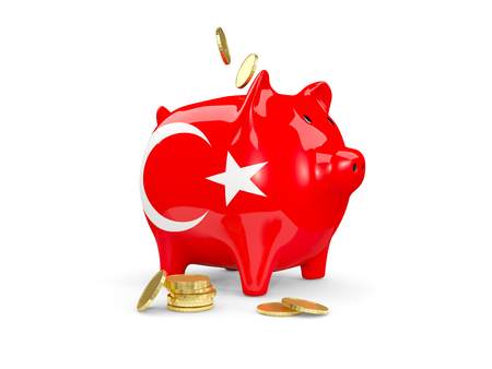 fag: Fat piggy bank with fag of turkey and money isolated on white. 3D illustration