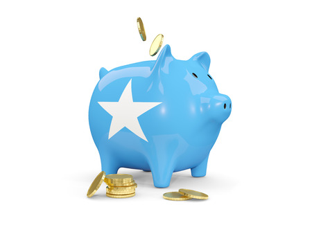 fag: Fat piggy bank with fag of somalia and money isolated on white. 3D illustration