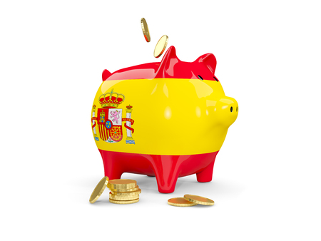 Fat piggy bank with fag of spain and money isolated on white. 3D illustration