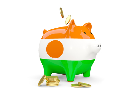 fag: Fat piggy bank with fag of niger and money isolated on white. 3D illustration