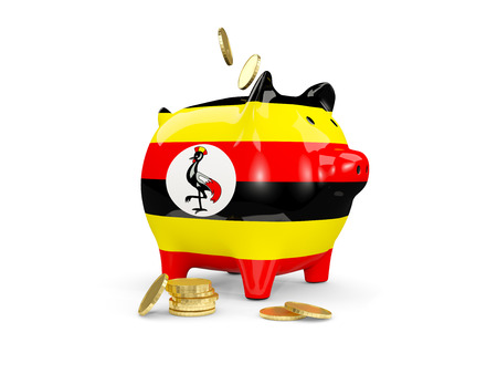 fag: Fat piggy bank with fag of uganda and money isolated on white. 3D illustration