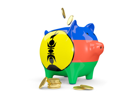 Fat piggy bank with fag of new caledonia and money isolated on white. 3D illustration