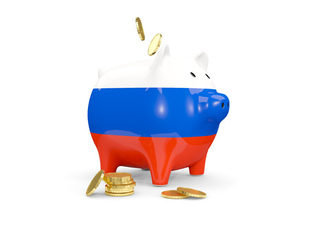 fag: Fat piggy bank with fag of russia and money isolated on white. 3D illustration Stock Photo