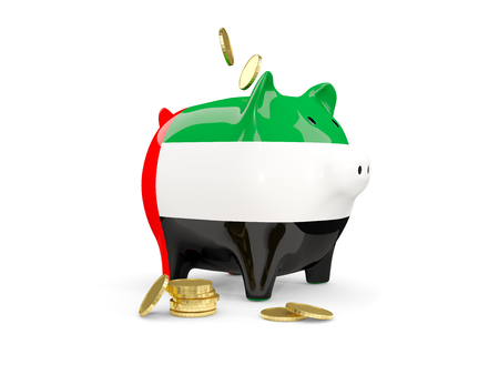 fag: Fat piggy bank with fag of united arab emirates and money isolated on white. 3D illustration