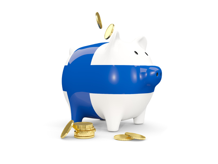 fag: Fat piggy bank with fag of finland and money isolated on white. 3D illustration