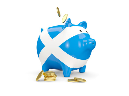 fag: Fat piggy bank with fag of scotland and money isolated on white. 3D illustration