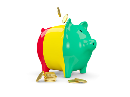 fag: Fat piggy bank with fag of guinea and money isolated on white. 3D illustration Stock Photo