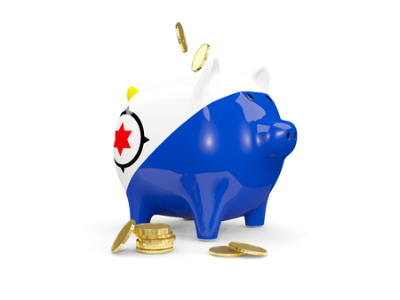 Fat piggy bank with fag of bonaire and money isolated on white. 3D illustration