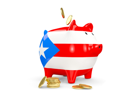 fag: Fat piggy bank with fag of puerto rico and money isolated on white. 3D illustration Stock Photo