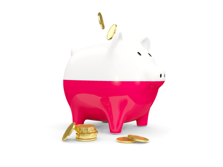 Fat piggy bank with fag of poland and money isolated on white. 3D illustration Stock Photo
