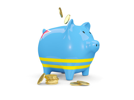 Fat piggy bank with fag of aruba and money isolated on white. 3D illustration