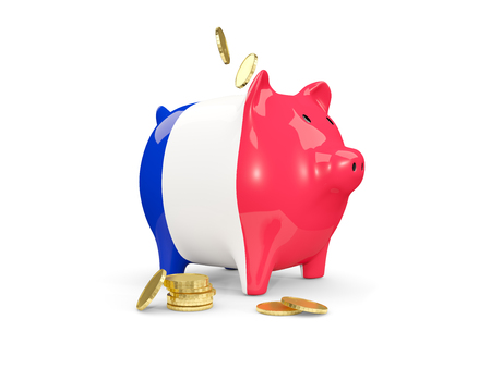 Fat piggy bank with fag of france and money isolated on white. 3D illustration
