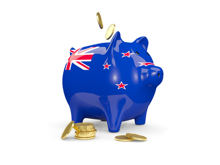 fag: Fat piggy bank with fag of new zealand and money isolated on white. 3D illustration