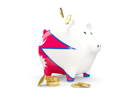 fag: Fat piggy bank with fag of nepal and money isolated on white. 3D illustration
