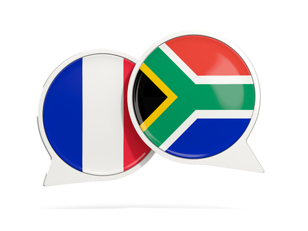 Chat bubbles of France and South Africa isolated on white. 3D illustration