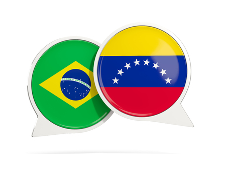 Chat bubbles of Brazil and Venezuela isolated on white. 3D illustration Imagens