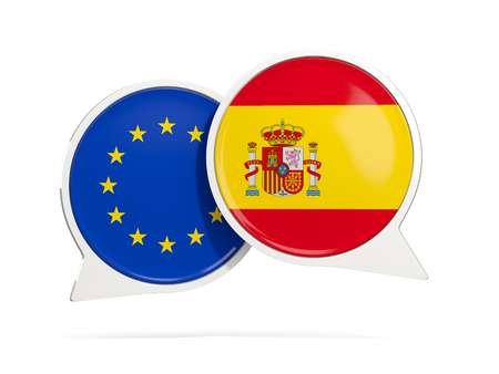 Chat bubbles of EU and Spain isolated on white. 3D illustration