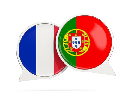 Chat bubbles of France and Portugal isolated on white. 3D illustration
