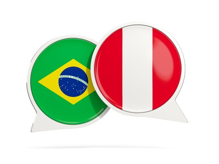 Chat bubbles of Brazil and Peru isolated on white. 3D illustration