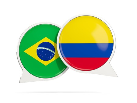 Chat bubbles of Brazil and Colombia isolated on white. 3D illustration
