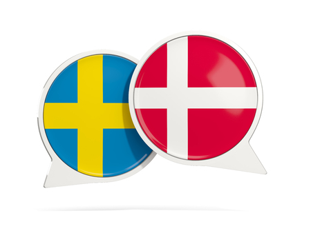 Chat bubbles of Sweden and Denmark isolated on white. 3D illustration