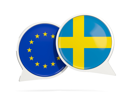 Chat bubbles of EU and Sweden isolated on white. 3D illustration