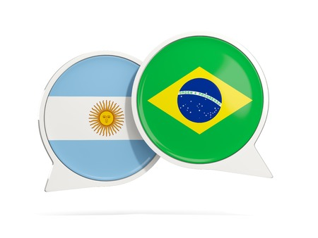 Chat bubbles of Argentina and Brazil isolated on white. 3D illustration Imagens
