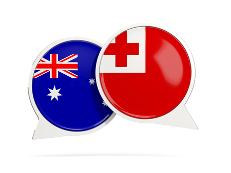 Chat bubbles of Australia and Tonga isolated on white. 3D illustration