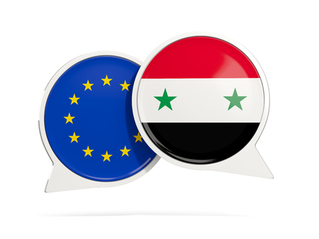 Chat bubbles of EU and Syria isolated on white. 3D illustration Stock Photo