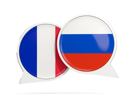 Chat bubbles of France and Russia isolated on white. 3D illustration