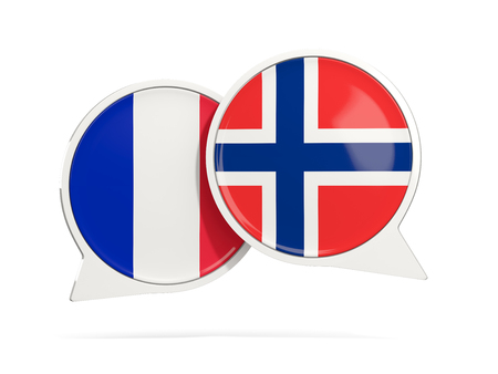 Chat bubbles of France and Norway isolated on white. 3D illustration
