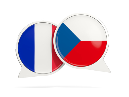 Chat bubbles of France and Czech republic isolated on white. 3D illustration