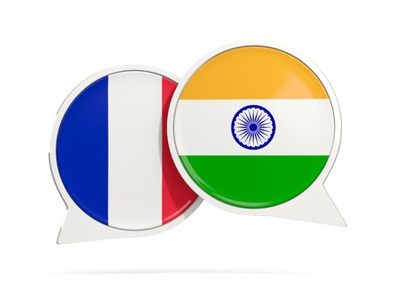 Chat bubbles of France and India isolated on white. 3D illustration