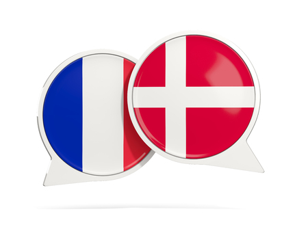 Chat bubbles of France and Denmark isolated on white. 3D illustration Stock Photo