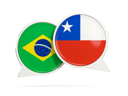 Chat bubbles of Brazil and Chile isolated on white. 3D illustration Imagens