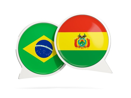 Chat bubbles of Brazil and Bolivia isolated on white. 3D illustration