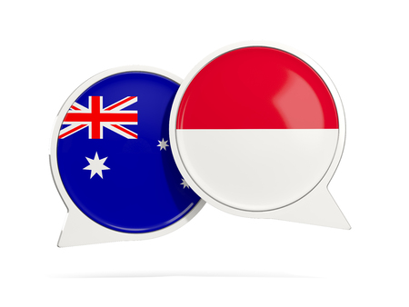 Chat bubbles of Australia and Indonesia isolated on white. 3D illustration